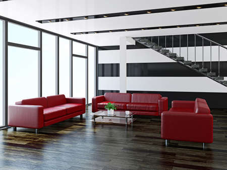 Leather sofas  in a large hall Stock Photo