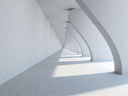 A long corridor with big columns
