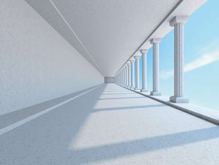 A long corridor with big columns photo