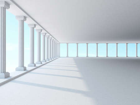 light columns: A large hall with columns
