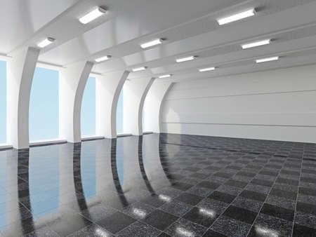 창문이있는 대형 홀 스톡 콘텐츠