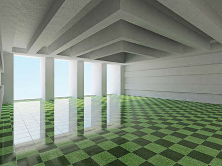 ceiling design: A large hall with windows