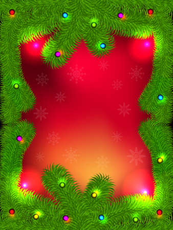 Christmas background with green fir branches Vector