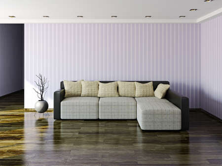 Sofa and vase near the wall photo