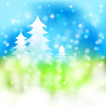 Christmas background with spruces