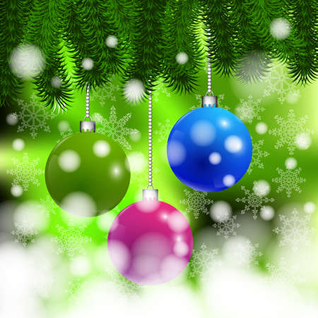 Christmas background with balls on a branch Vector
