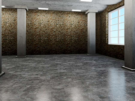 abandoned warehouse: Old hall with dirty walls and floors