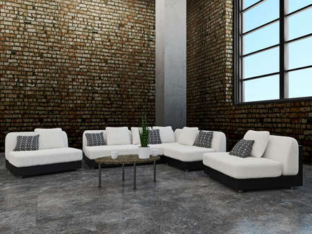 industrial decor: Sofa and chairs near the old brick wall