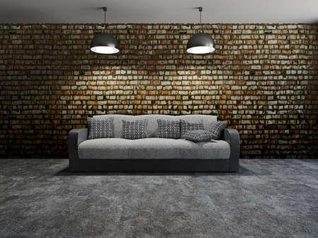 Sofa with pillows near a brick wall