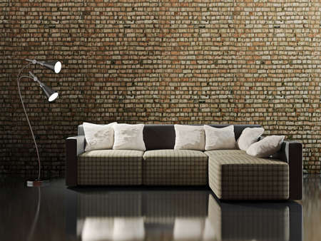 modern interior room: Sofa with pillows near a brick wall