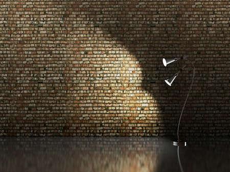Metal lamp near the brick wall photo
