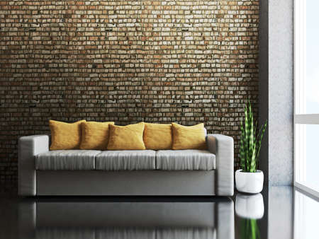 Sofa with pillows near a brick wall photo