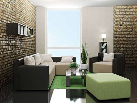 Minimalist livingroom with sofa and armchair photo