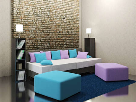 violet residential: Room interior  with ottoman and colored cushions