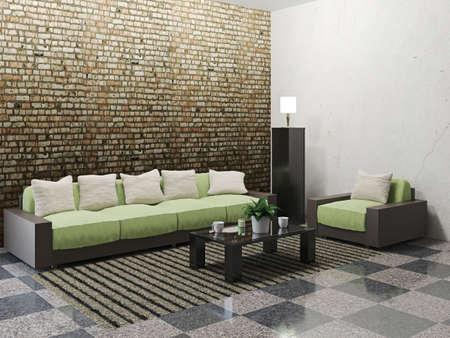Minimalist livingroom with sofa and armchair photo