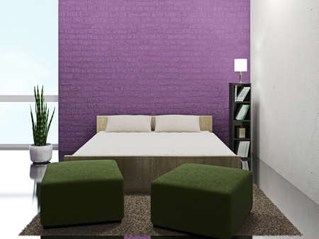 Room interior with bed and poufs Stockfoto