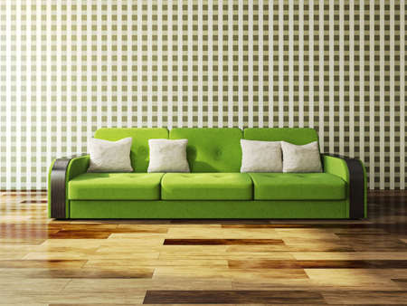 cushions: Green sofa with cushions against the wall