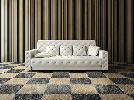 Leather sofa with cushions near the wall photo