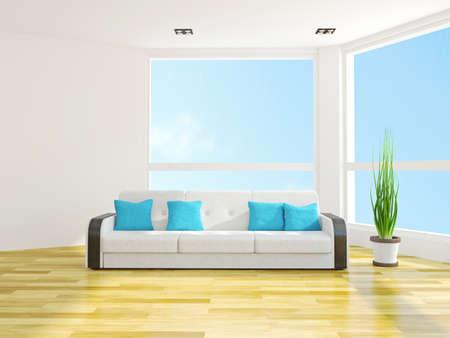 Sofa with cushions near the window Stock Photo - 25773198