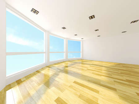 large house: Empty room with large windows Stock Photo