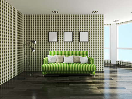 cushions: Green sofa with cushions near the wall