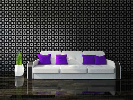 cushions: White sofa with violet cushions near the wall