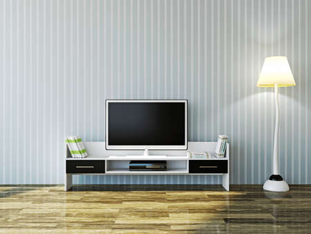 living room minimalist: White TV and a shelf near the wall Stock Photo