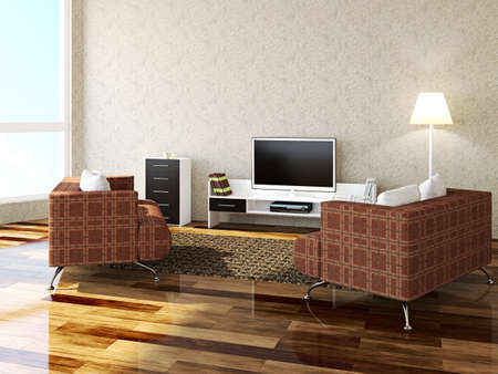 Interior room with furniture and a TV photo