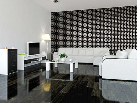 Interior room with furniture and a TV