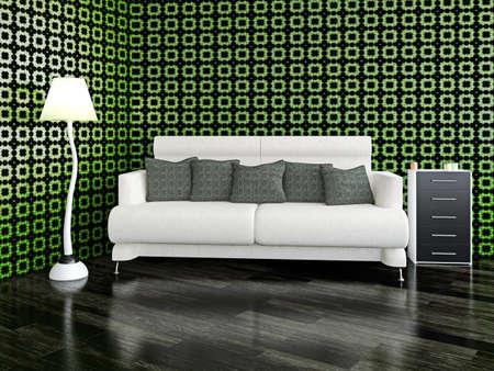 White sofa with cushions near the wall photo