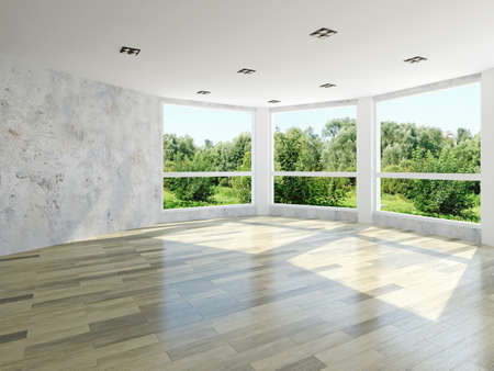 Empty room with large windows 스톡 콘텐츠