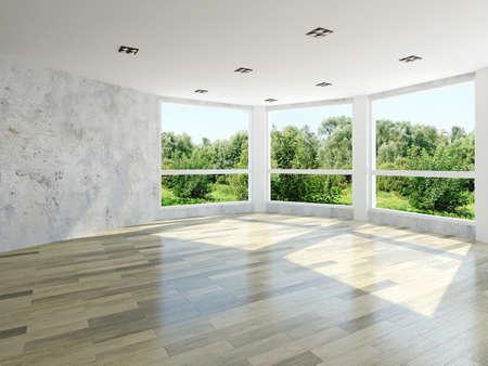 Empty room with large windows Stockfoto