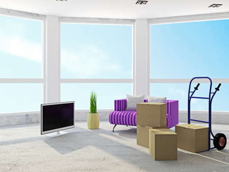 violet residential: Room with boxes and with hand track Stock Photo