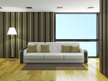 cushions: Sofa with cushions near the window