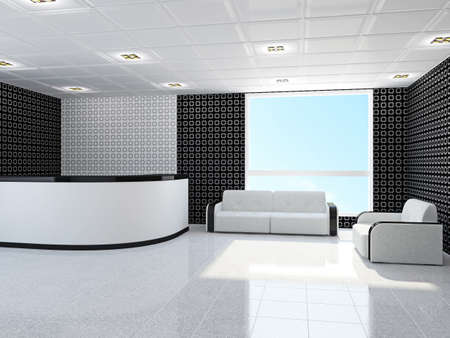 Office with a sofa and armchair