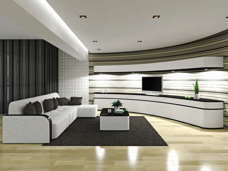 Livingroom with sofa and TV photo
