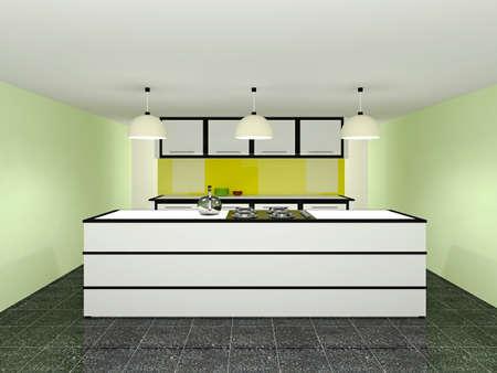 kitchen furniture: Kitchen with white furniture Stock Photo