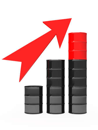 The graph consisting of oil barrels on a white background photo