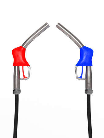 Red and blue fuel nozzles on a white background photo