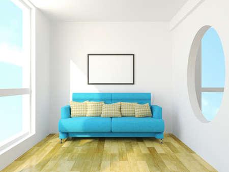 Sofa with cushions near the window Stock Photo - 26173959