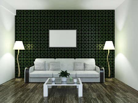 cushions: White sofa with cushions near the wall