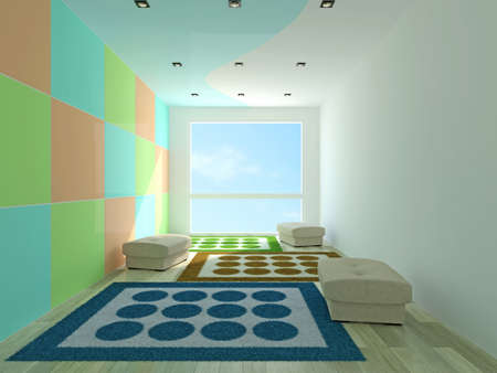 Interior room with colorful wall photo