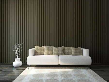 Sofa with cushions near the wall photo