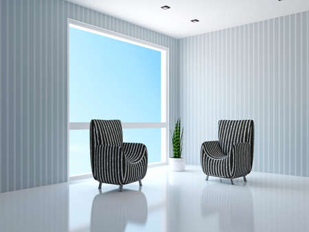 two chairs: Two chairs near the window Stock Photo