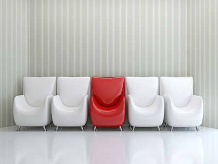 red chair: Row of chairs near the wall Stock Photo