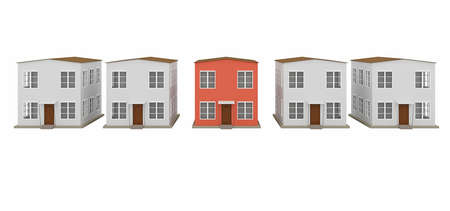 A row of small houses on a white background photo