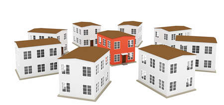 A small houses on a white background photo