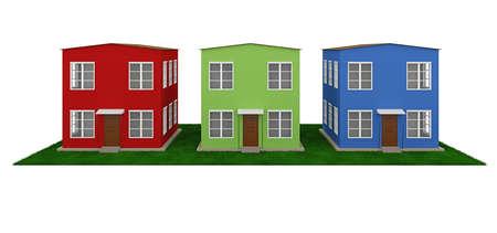 row houses: A row of colored small houses on a white background Stock Photo