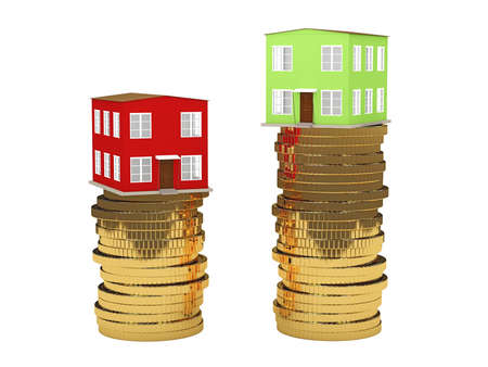 The green and red houses is on the coins Stock Photo - 26766469
