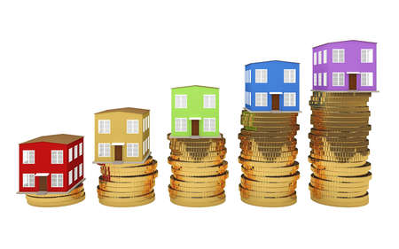 house sale: The colored houses is on the coins Stock Photo